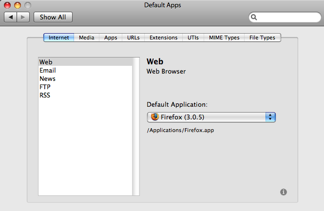 Default Apps in OSX